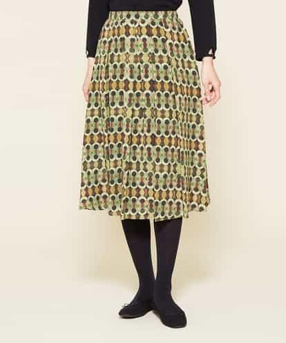 Sybilla(シビラ) シルクデシンプリントスカート ライトグリーン 42
