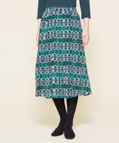 Sybilla(シビラ) シルクデシンプリントスカート ブルー 42