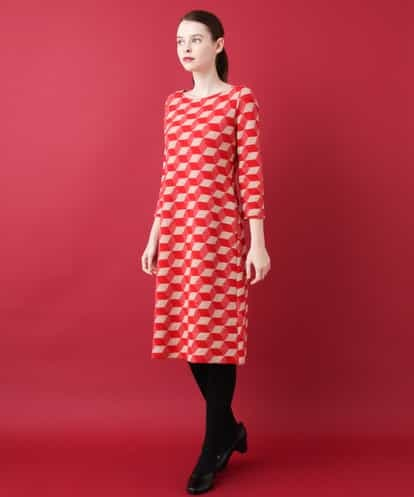 Sybilla(シビラ) ジオメトリカルニットドレス レッド 40