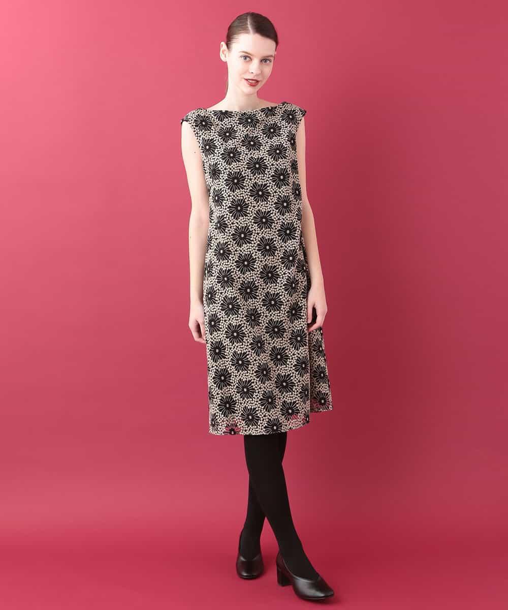 Sybilla(シビラ)チュールフラワー刺繍ドレス