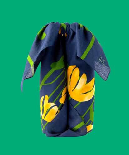 Sybilla(シビラ) フラワープリント風呂敷 97センチサイズ ネイビー フリーサイズ