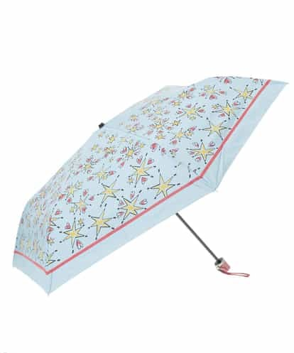 Jocomomola(ホコモモラ) 【晴雨兼用】スタープリント折りたたみ傘 ライトブルー 40
