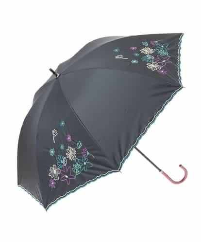 Jocomomola(ホコモモラ) 【晴雨兼用】フラワー刺繍傘 ブラック 40