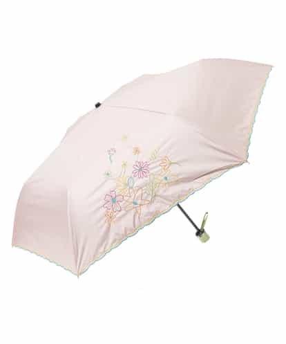 Jocomomola(ホコモモラ) 【晴雨兼用】フラワー刺繍折りたたみ傘 ライトピンク 40