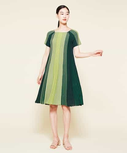 Sybilla(シビラ) グラデーションデザインリブワンピース ライトグリーン 36