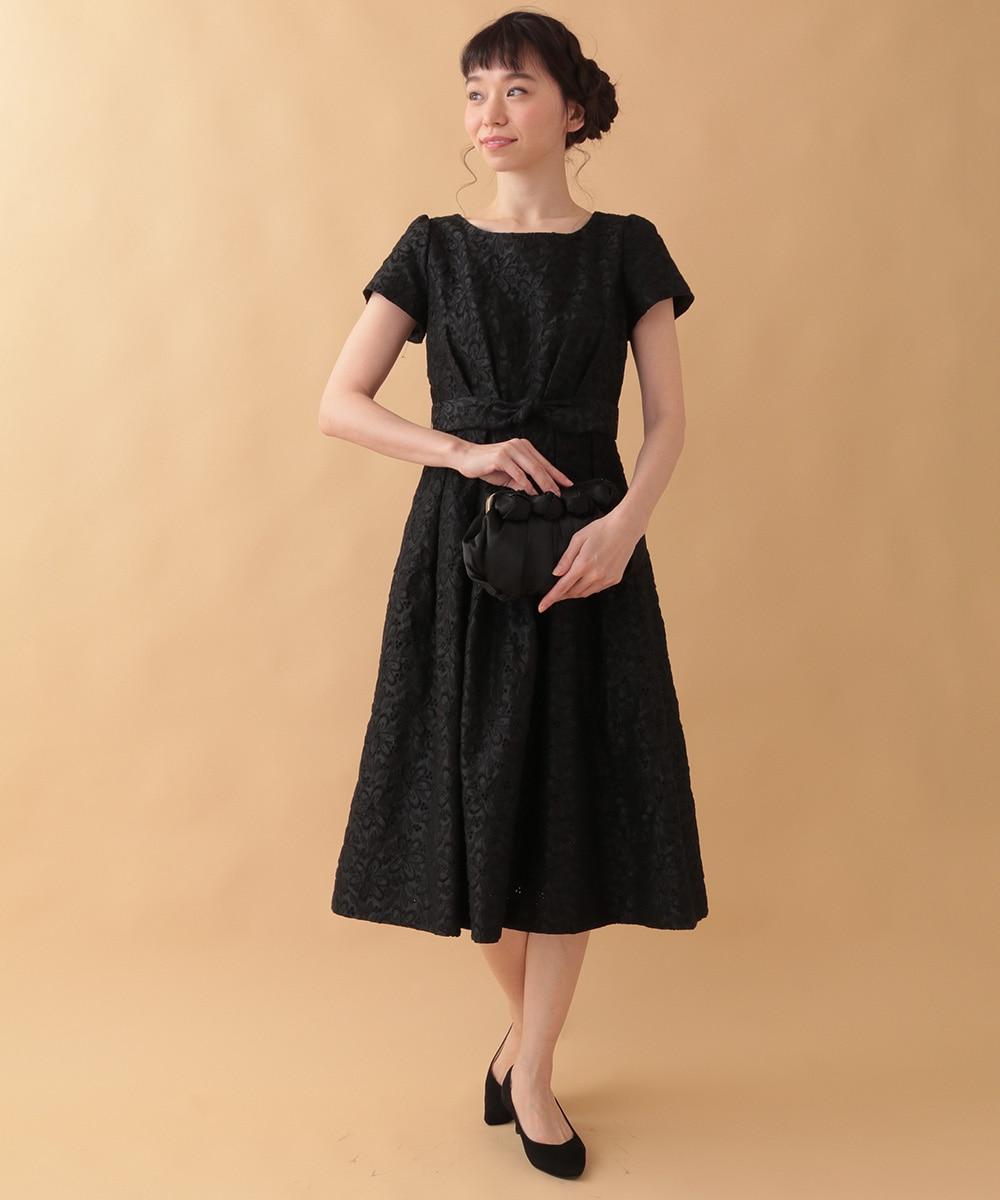 Jocomomola(ホコモモラ) Fruto シャンタン 刺繍ワンピース ブラック 42