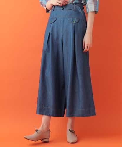 Jocomomola(ホコモモラ) 綿テンセルデニムワイドパンツ ブルー 40