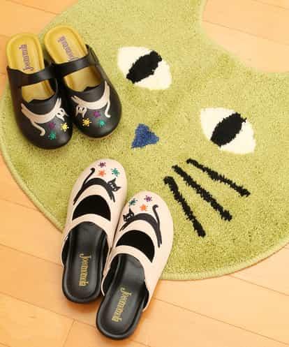 Jocomomola(ホコモモラ) ネコちゃん刺繍 屋内用サンダル ベージュ 22