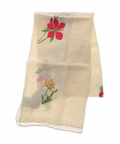 Sybilla(シビラ) リネンボタニカル刺繍ストール ベージュ フリーサイズ