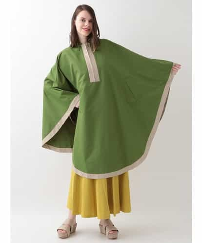 Sybilla(シビラ) カラーブロッキングレインポンチョ グリーン フリーサイズ