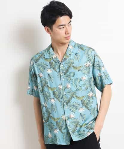 a.v.v(アー・ヴェ・ヴェ) アロハガラプリントオープンカラーシャツ[WEB限定サイズ] ライトグリーン 46