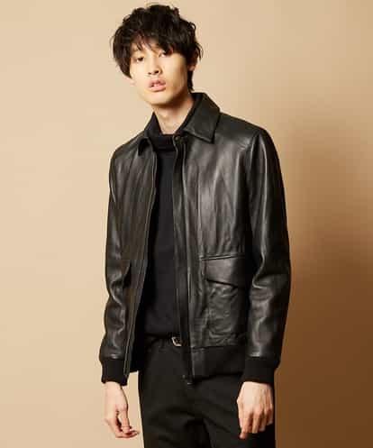 "MK MICHEL KLEIN HOMME(エムケー ミッシェルクラン オム) 数量限り!""Leather Jacket""(Type A-2) ブラック 48"