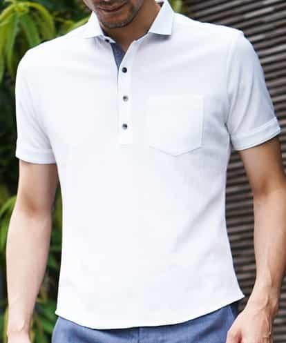MICHEL KLEIN HOMME(ミッシェルクラン オム) 『想いを込めた贈り物』ポロシャツ(リンクスヨウリュウ) ホワイト 44
