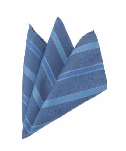 MICHEL KLEIN HOMME(ミッシェルクラン オム) 【シルク】ストライププリントポケットチーフ ブルー 46