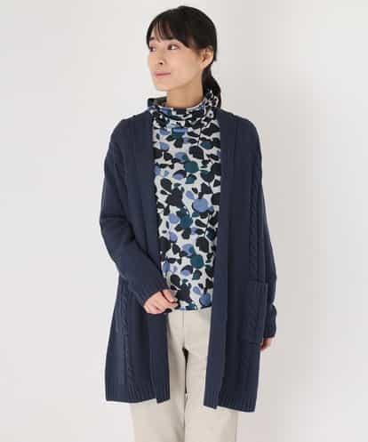 GIANNI LO GIUDICE(ジャンニ・ロ・ジュディチェ) 【Yamagata Knit】ケーブルロングニットカーディガン ネイビー 40