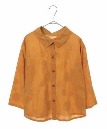 Maison de CINQ(メゾンドサンク) 【洗える】刺繍デザイン七分丈ブラウス イエロー 36
