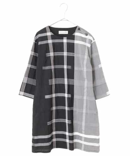Maison de CINQ(メゾンドサンク) 【手洗い・日本製】デザインチェックワンピース ブラック 36