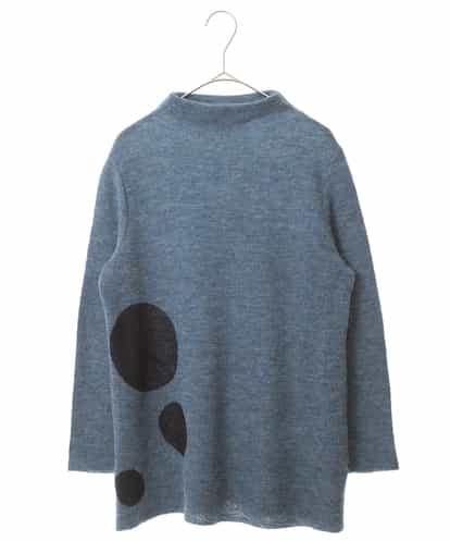 Maison de CINQ(メゾンドサンク) 【日本製】サークルデザインニットトップ ブルー 36