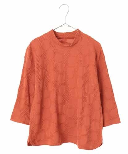 Maison de CINQ(メゾンドサンク) 【手洗い・日本製】絞り加工五分袖カットソー オレンジ 36