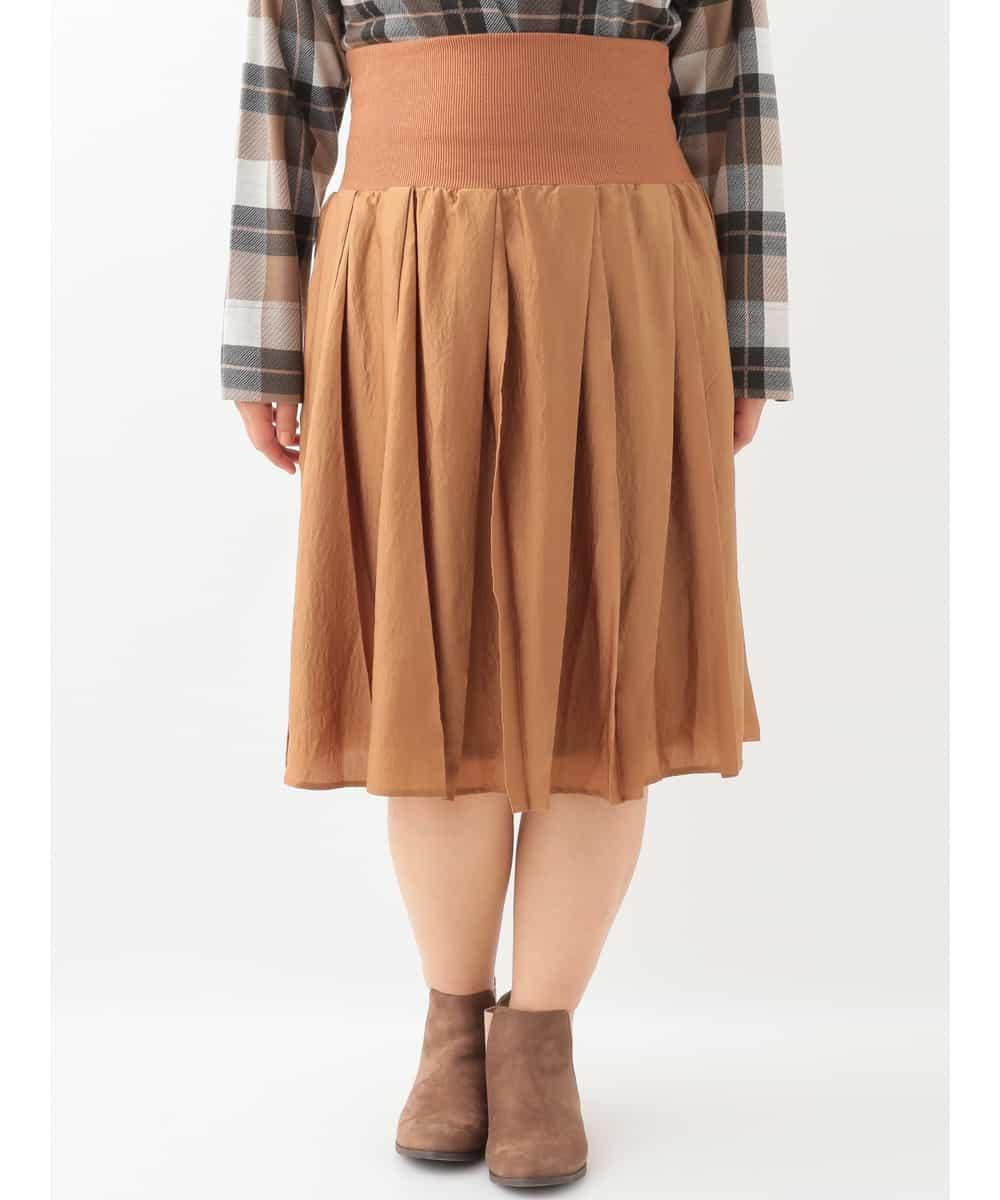 eur3(エウルキューブ)【大きいサイズ】ヴィンテージサテン変形プリーツスカート