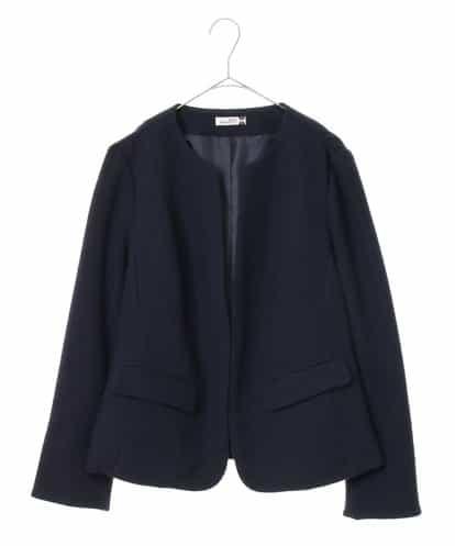 eur3(エウルキューブ) 【大きいサイズ】ノーカラーデザインジャケット ネイビー 17