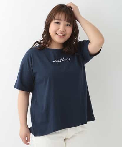 eur3(エウルキューブ) 【大きいサイズ】レタードロゴTシャツ ネイビー 1