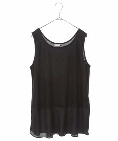 eur3(エウルキューブ) 【大きいサイズ】シフォン裾ヒラタンクトップ ブラック 2