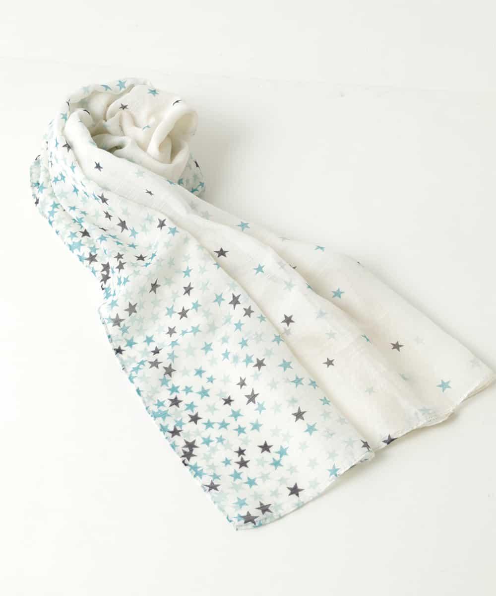 GEORGES RECH(ジョルジュレッシュ) 【洗える】スタープリントシルク混スカーフ ブルー 38