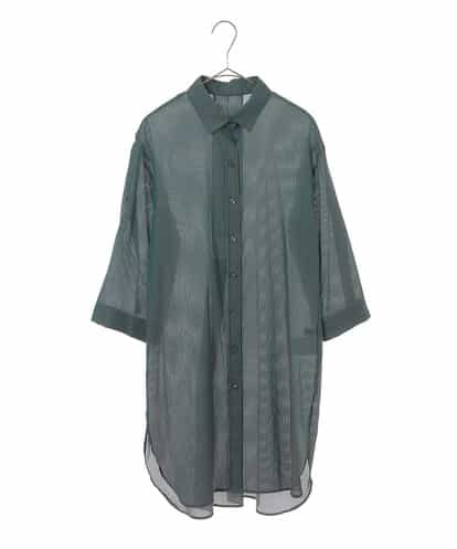 Maison de CINQ(メゾンドサンク) [洗濯機OK]ストライプロングシャツ グリーン 36