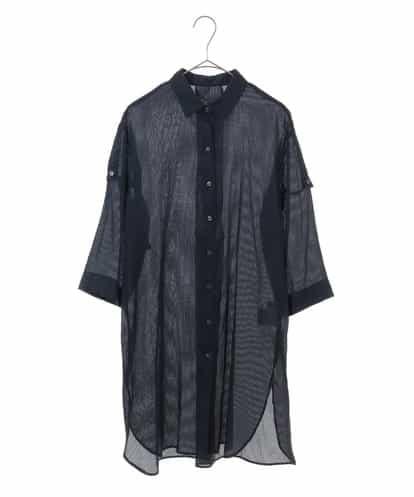 Maison de CINQ(メゾンドサンク) [洗濯機OK]ストライプロングシャツ ネイビー 36
