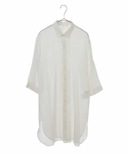 Maison de CINQ(メゾンドサンク) [洗濯機OK]ストライプロングシャツ ホワイト 36
