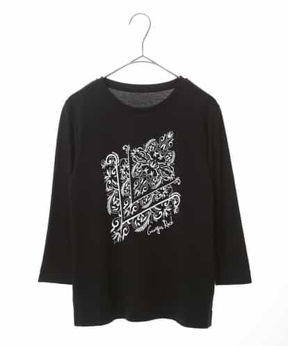 Maison de CINQ(メゾンドサンク) 【手洗い】ボタニカルプリントカットソー ブラック 36