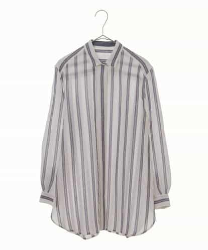 Maison de CINQ(メゾンドサンク) 前立てデザインストライプシャツ ホワイト 7