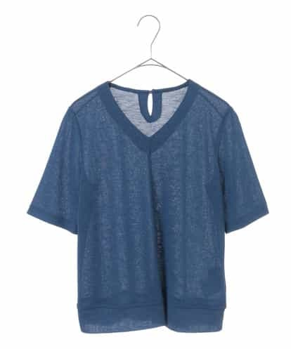 Maison de CINQ(メゾンドサンク) 【洗える】Vネックサマーニットトップ ブルー 7