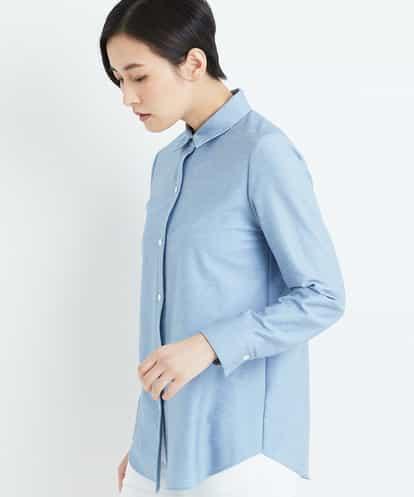 GEORGES RECH(ジョルジュレッシュ) 【洗濯機OK】【日本製】ベーシックシャツブラウス ブルー 38