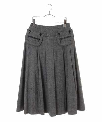 HIROKO BIS(ヒロコビス) ホームスパンツイードスカート グレー 9