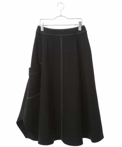 HIROKO BIS(ヒロコビス) 【洗濯機で洗える】デザインステッチ イレギュラーヘムスカート ブラック 7