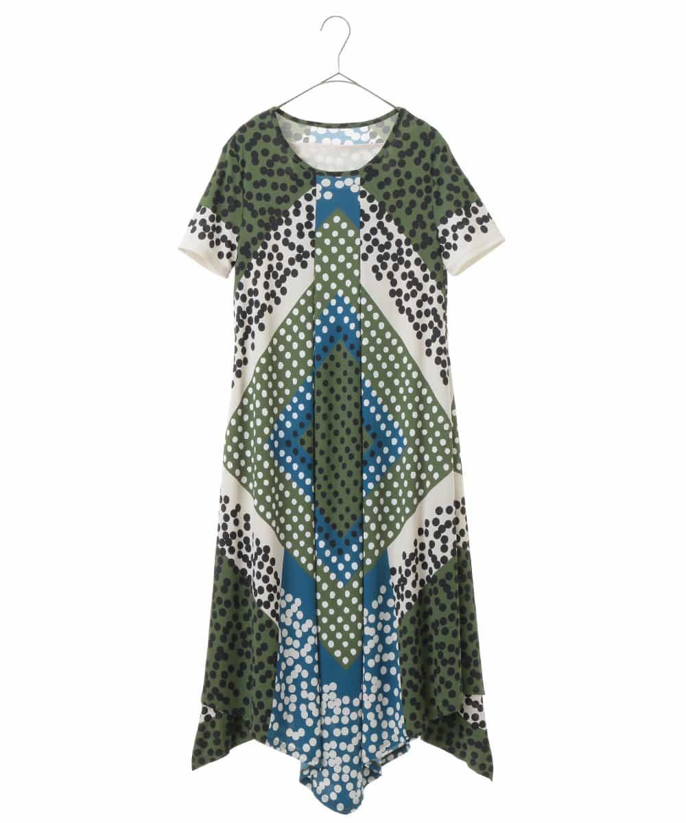 HIROKO BIS(ヒロコビス)【洗濯機で洗える】ブロッキングプリントドレス