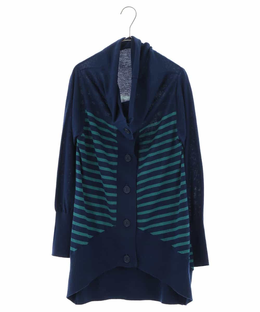 HIROKO BIS(ヒロコビス)【洗える】デザインボーダーニットジャケット