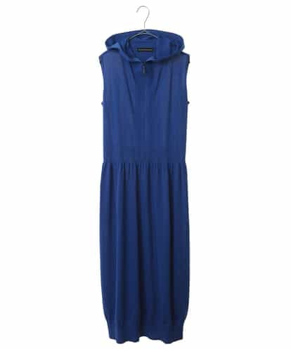 HIROKO KOSHINO(ヒロコ) ハイゲージフーテッドニットドレス ブルー 38