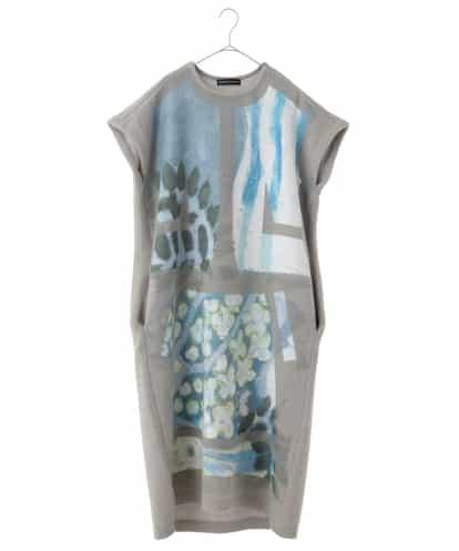 HIROKO KOSHINO(ヒロコ) 【日本製】ジャガードデザインニットドレス ライトグレー 38