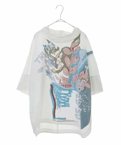 HIROKO KOSHINO(ヒロコ) 【洗える】ボタニカルプリントオーバーブラウス ホワイト 40