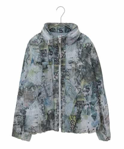 HIROKO KOSHINO(ヒロコ) フラワーペイントパターン中綿ショートジャケット ライトグレー 38