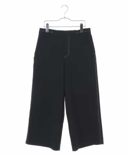 HIROKO KOSHINO(ヒロコ) 【洗濯機で洗える】マットスエードステッチワイドパンツ ブラック 38
