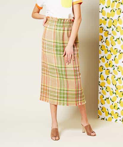 ecbille(エクビル) チェックツイードタイトスカート キャメル 38