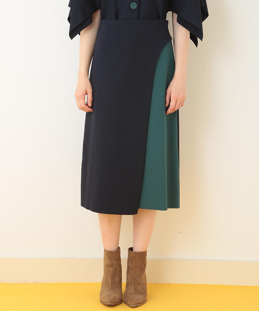 TARA JARMON(タラジャーモン) デザインラップ風スカート ネイビー 13