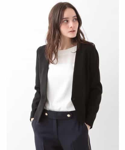 TARA JARMON(タラジャーモン) ノーカラーデザインジャケット ブラック 36