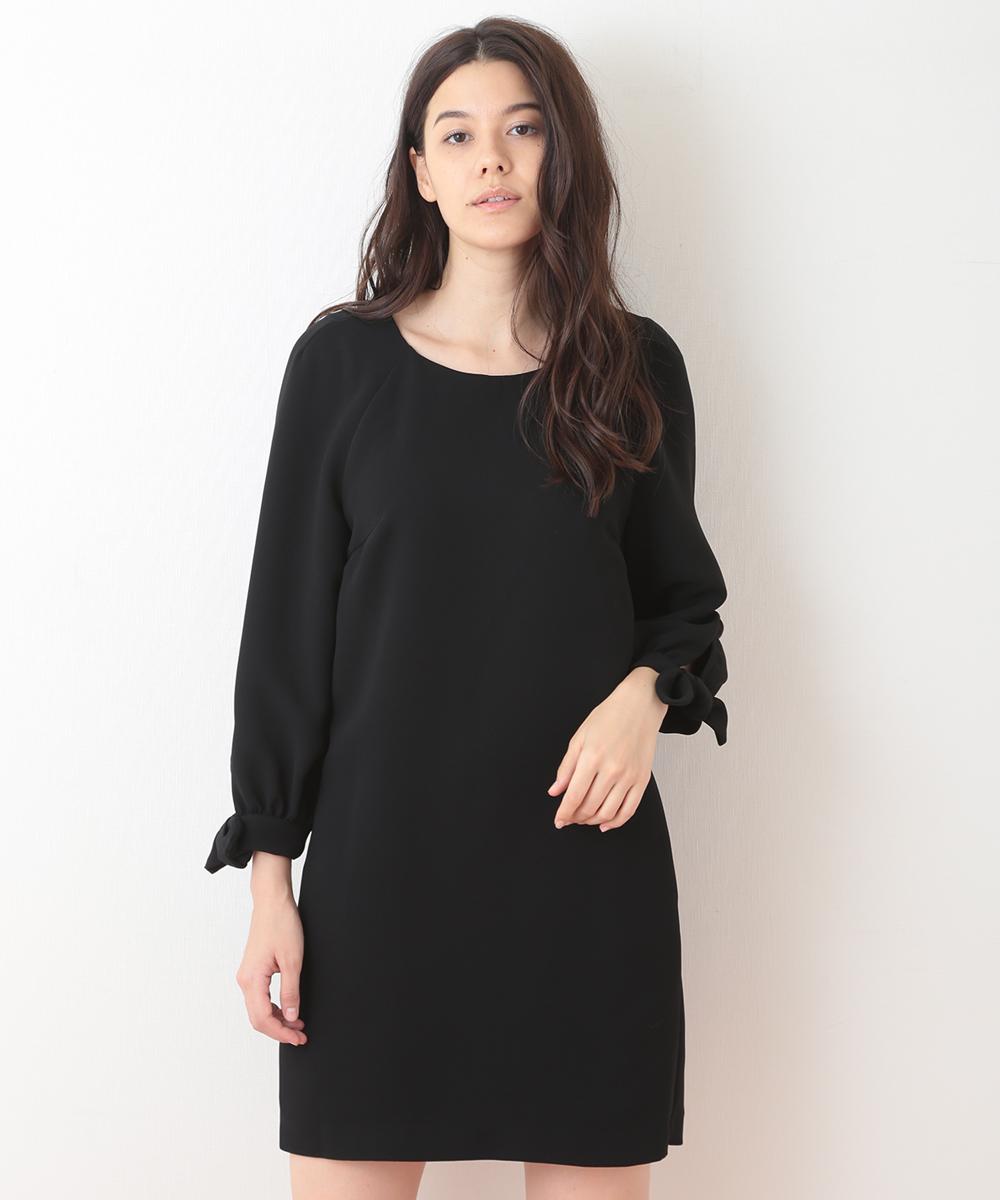 TARA JARMON(タラジャーモン) 【チャリティ】リボンスリーブドレス ブラック 36