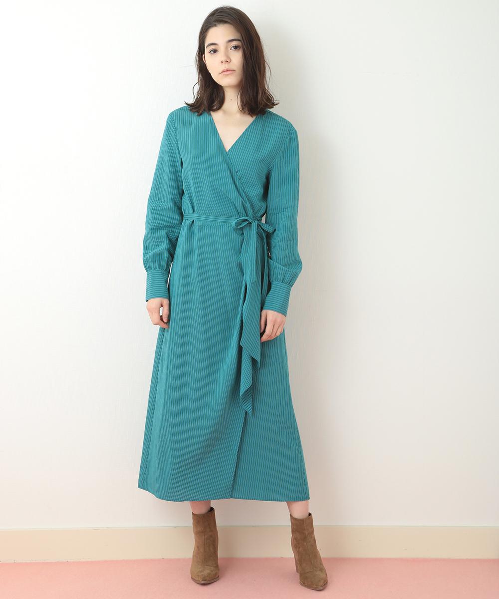 TARA JARMON(タラジャーモン) カシュクールストライプドレス グリーン 40