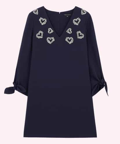 TARA JARMON(タラジャーモン) ハートラインストーンモチーフドレス IMPORTED ネイビー 36
